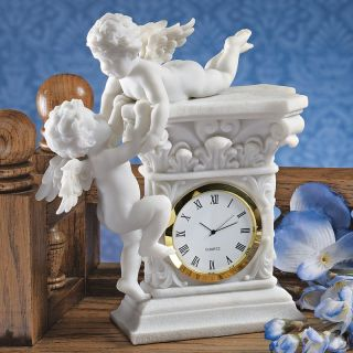 Design Toscano Inc Baroque Twin Cherubs Bonded Marble Desktop Clock   Desktop Clocks