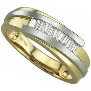 Two Tone Good Looking Men's Diamond Wedding Ring: Wedding Bands: Jewelry