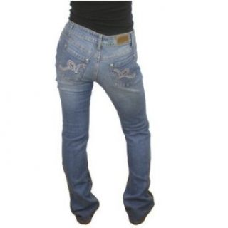 Womens Rocawear light wash blue hip hop jeans. 100% authentic urban brand name designer denim featuring a low rise cut that looks good on most ladies. Very unique logo embroidery used on the back pocket. Great pants to wear to dance, clubs, bars, malls or