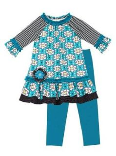 Rare Editions Girls 4 6x Teal Black Geometric Print Dress Leggings set Clothing