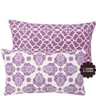 """Lucky Violet Double sided 12x20"""" Lumbar Throw Pillow Cover   Floral, Flowers, Geometric Lattice   Violet, Lilac, Ivory   1 Cover, 2 Looks"""