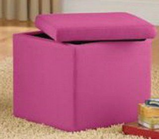 Pink Faux Suede Storage Ottoman The Stool Makes a Great Toy Box for Kids Dvds and Toys or Extra Seating. Sale. Ottomans Are Great Footstools, Comfortable Foot Rests, or End Tables to Hide Clutter, Remotes, and Books. Your Princess Will Love the Pink.