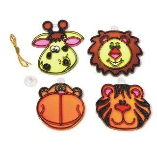 S&S Worldwide Jungle Animal Sun Catchers Craft Kit (Makes 12): Toys & Games