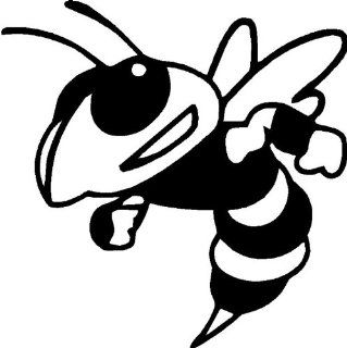 "Mean Bee   Mean Hornet   Vinyl Decal Sticker 6"" YELLOW: Automotive"