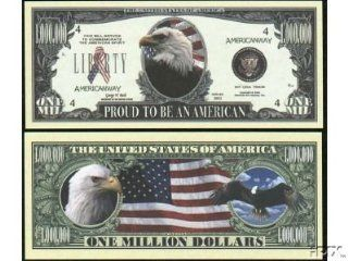 Set of 10 Bills Proud To Be An American Million Dollar Bill: Toys & Games