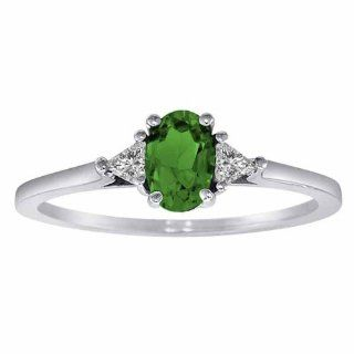 Ryan Jonathan Platinum Oval Emerald and Triangle Trillion Diamond Cocktail Ring (3/4 cttw, F G, SI1)   Size 6: Ryan Jonathan: Jewelry