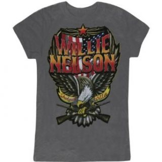 Willie Nelson   Stars & Stripes Ladies T Shirt   Small: Clothing
