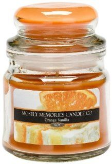 Mostly Memories Orange Vanilla 5 Ounce Lid Lites Soy Candle   Jar Candles