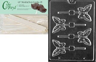 Cybrtrayd 45St25 A134 Butterfly Lolly Animal Chocolate Candy Mold with 25 4.5 Inch Lollipop Sticks Candy Making Molds Kitchen & Dining
