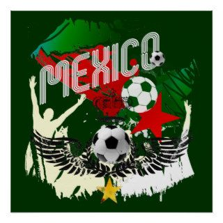 Mexico Grunge Futbol Mexicano Soccer gifts Poster