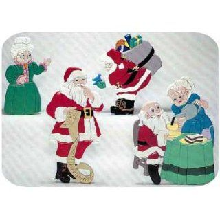 Woodworking Project Paper Plan to Build Santa with Mrs Claus Intarsia   Holiday Woodworking Project Plans