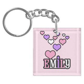 Emily Bubble Hearts Personalized Acrylic Key Chain