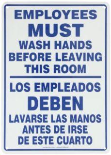"""Accuform Signs SBMRST578VA Aluminum Spanish Bilingual Sign, Legend """"EMPLOYEES MUST WASH HANDS BEFORE LEAVING THIS ROOM/LOS EMPLEADOS DEBEN LAVARSE LAS MANOS ANTES DE IRSE DE ESTE CUARTO"""", 14"""" Length x 10"""" Width x 0.040"""" Thickness,"""