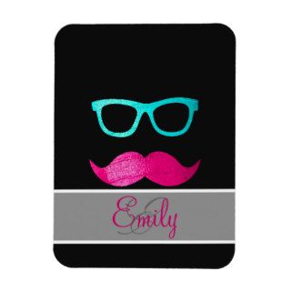 Monogram Funny Pink mustache teal hipster glasses Rectangle Magnet