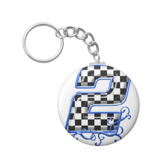 blue racing number 2 key chain