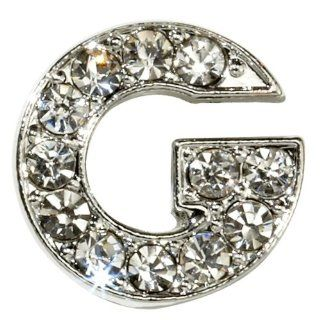 "Sugar N Vine Ice Crystal Covered Alphabet Letter ""G"" Slide Charm   Works with Slider Style Buckle Charm Bracelets!: Jewelry"