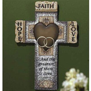 Abbey Press   Faith, Hope, & Love Marriage Wall Cross w/ Stone Look   Wall Sculptures