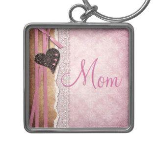 Heart, Ribbon & Lace Pink Damask Mom Key Chain