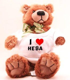 Plush Teddy Bear (Molasses) with I Love Heba (first name/surname/nickname): Toys & Games