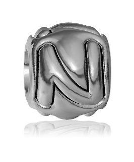 N   Bead, Single Alphabet Initial Letter for Name Bracelet, Capital, Uppercase N Charm Bracelet Bead, Embossed, Complete Alphabet and Numbers Available, Solid Sterling Silver Sziro Jewelry