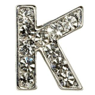"Sugar N Vine Ice Crystal Covered Alphabet Letter ""K"" Slide Charm   Works with Slider Style Buckle Charm Bracelets!: Jewelry"