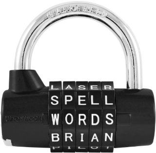 Wordlock PL 004 BK 5 Dial Combination Padlock, Black   Pink Lock