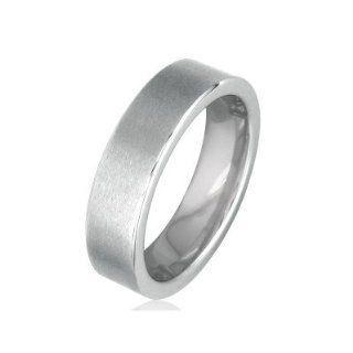 Comfort Fit Flat 6mm Brushed Tungsten Wedding Band, Available Ring Sizes 8 12.5, Ring Size 8: Jewelry