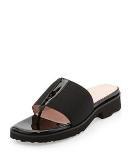 Torte Patent Thong Slide, Black   Taryn Rose   Black (35.0B/5.0B)