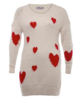 Praslin Nude and Red Heart Print Fluffy Jumper