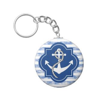 Anchor Silhouette With Nautical Blue Stripes Key Chains