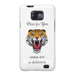 Cool cartoon tattoo symbol roaring feral tiger galaxy SII cases