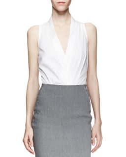 Sleeveless Plunging Poplin Bodysuit, White   Donna Karan