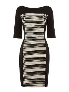 Linea Contrast wave shutter ponte dress Black Multi