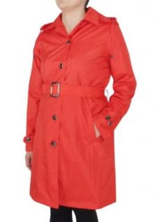 Capelli New York Ladies Solid Trench Rain Coat with Belt Riverside Red Large