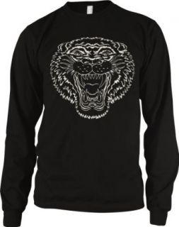 Growling Tiger Mens Tattoo Thermal Shirt, Old School Tiger Tattoo Style Design Mens Long Sleeve Thermal Clothing