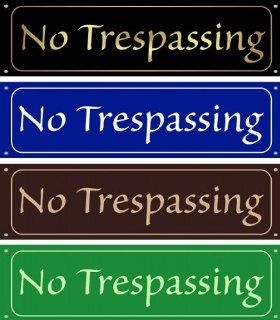 No Trespassing Sign   Gloss Black with Brass Colored Printing  Yard Signs  Patio, Lawn & Garden