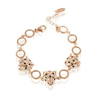 "Fashion Plaza Leopard Crystal Pav� Tennis Bracelet Gold Tone 7"" 8"" B58: Jewelry"