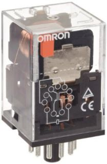 Omron MKS3P AC110 General Purpose Relay with Mechanical Indicator, Basic Model Type, Plug In Terminal, Non Standard Internal Connections, Triple Pole Double Throw Contacts, 24.2 mA at 50 Hz and 21 mA at 60 Hz Rated Load Current, 110 VAC Rated Load Voltage: