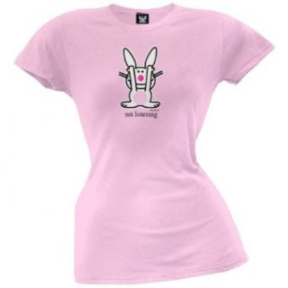 Happy Bunny   Not Listening Juniors T Shirt: Clothing