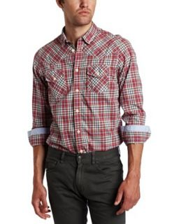 Ben Sherman Men's Fancy Gingham Western Long Sleeve Woven Shirt, Primary Red, 3X Large at  Men�s Clothing store Button Down Shirts
