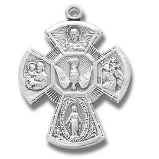 "Large Sterling Silver 4 way Medal with 24"" Stainless Steel Chain in Gift Box. The Four Way Medal Most Simply Put, the 4 Way Medal Is a Medal Created Out of a Combination of Four Popular Catholic Medals. Traditionally, the Four Way Medal Is Cross shape"