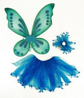 3 Piece Girls Pixie Fairy Costume Wing, Tutu, Hair tie (Pony O). Select Color: Blue: Clothing