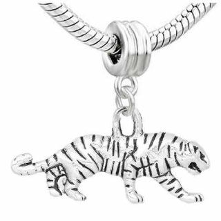Walking Tiger Charm Dangle Bead Fits Pandora Troll Chamilia Kay's Zable and Many Others: Jewelry