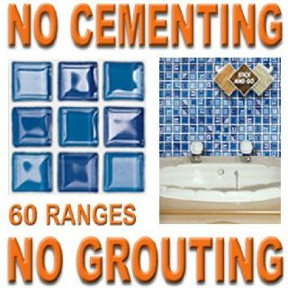 BLUE GLASS MOSAIC: Box of 18 tiles 4x4 SOLID PEEL & STICK ON TILES apply over tiles or onto the wall !   Decorative Tiles