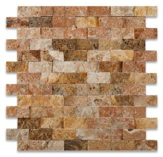 Scabos 1 X 2 Split Faced Travertine Brick Mosaic Tile   Box of 5 sq. ft.   Marble Tiles