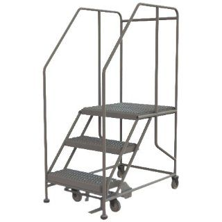 Tri Arc WLWP132424SL 3 Step Froward Descent Mobile Steel Work Platform with Handrails, Step Lock, 24 Inch x 24 Inch Platform, 38 Inch Long Overall: Stepladders: Industrial & Scientific