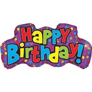 Happy Birthday Word Helium Shape Foil Balloon (1 per package): Toys & Games