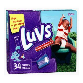 Luvs Diapers Jumbo Size, Ultra Leakguard  34 per pack, 4 per case Health & Personal Care