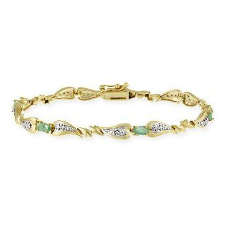 Gold Tone over Sterling Silver Emerald & Diamond Accent Heart Link Bracelet Jewelry