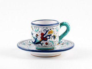 Hand Painted Italian Ceramic Espresso Cup & Saucer Ricco Deruta Blu   Handmade in Deruta Kitchen & Dining